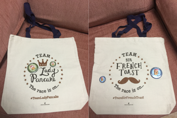 lady pancake and sir french toast tote bags