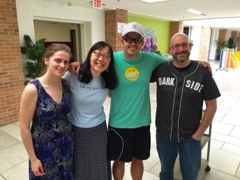 Jess Keating, Debbie Ohi, Colby Sharp and Josh Funk meet
