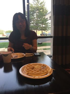 Sharing a waffle with Debbie Ohi