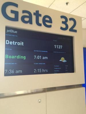 Boarding Flight from Boston to Detroit