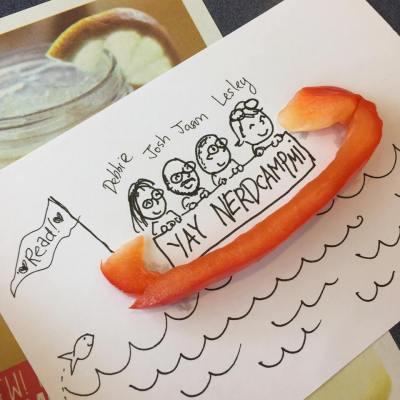 debbie ridpath ohi's found art doodle of josh funk on the way to nerdcamp